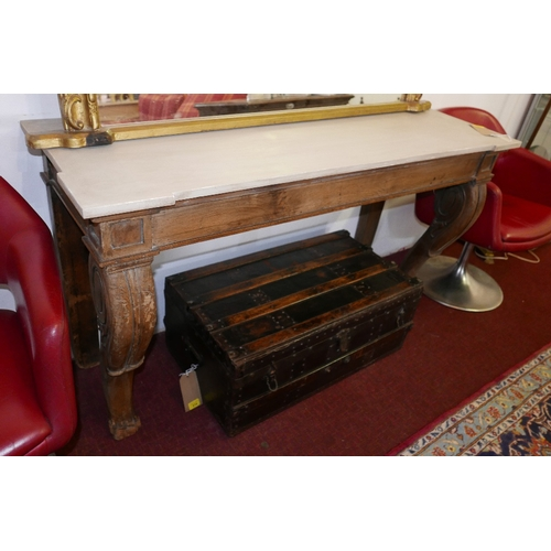 32 - A Victorian oak carved console table, cabriole supports, with later top, raised on paw feet, H.80 W....