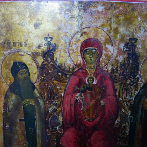 4 - A large Russian icon of the Enthroned Mother of God, tempera on wood panel, 54 x 44cm...