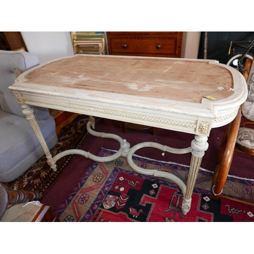 41 - A 19th century French Louis XVI style grey painted centre table, lacking mirrored top, with reeded l...