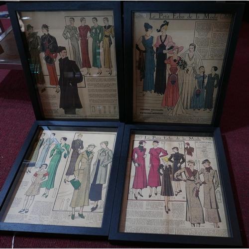 339 - A set of four 1920's French fashion plates from 'Le Petite Echo de la Mode', in black box frames, 34...