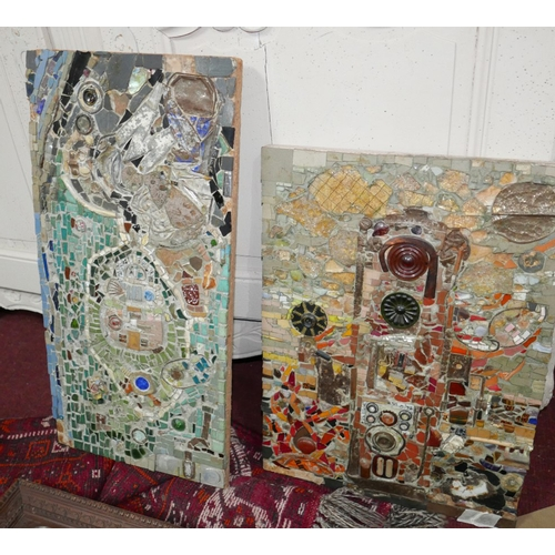 140 - 20th century school, two abstract studies, mixed media mosaics on board, signed and annotated in pen...