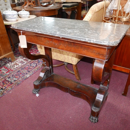 311 - A 19th century French Louis Philippe flame mahogany console table, with gray marble top, scroll supp...