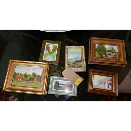 162 - A collection of 6 various framed miniatures each by a different hand, largest H.12 W.16cm...