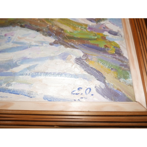 43 - Ousyannikova Eugeniya Ivahova (1909-1998), winter landscape study, oil on board, signed lower right,...