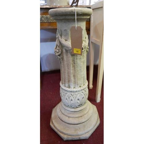 51 - A sun dial on Classical style stone column, H.77cm...