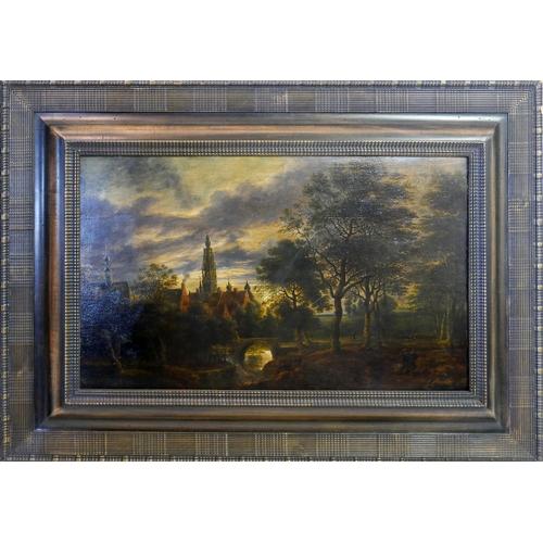 30 - School of Lucas van Uden, a landscape scene, oil on board, H.37cm W.59cm...