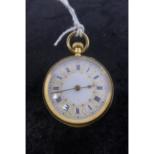2 - A 18ct yellow gold ladies open faced pocket watch, the white enamel dial with Roman numerals and gil...