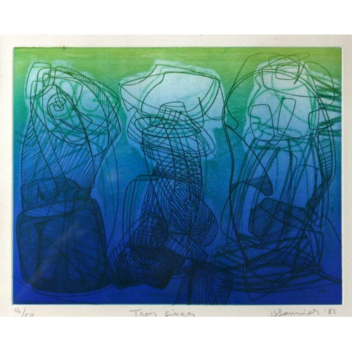 20 - Hector Saunier (Argentinian, b. 1936), a framed and glazed etching depicting three abstract forms on...