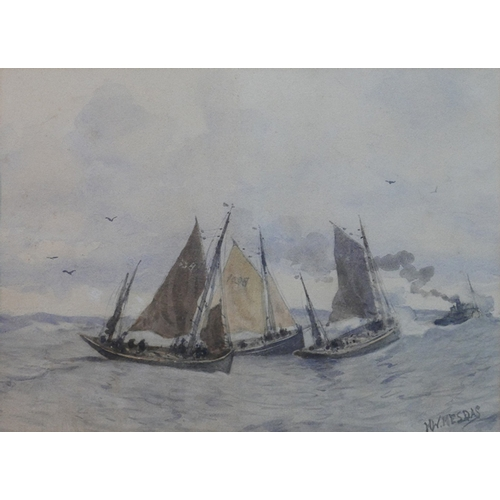 31 - Henrik Willem Mesdag (Dutch, 1813-1915), Sail ships and steam boats, watercolour, in gilt frame, 37 ...