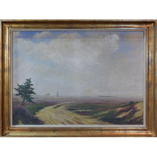 45 - Willem Jan van den Berghe (Dutch, 1823-1901), Landscape study, oil on canvas in gilt frame, 64 x 89c...