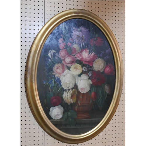 49 - H. Drieling, an oval still life study of flowers, oil on board, in gilt frame, 76 x 54cm...