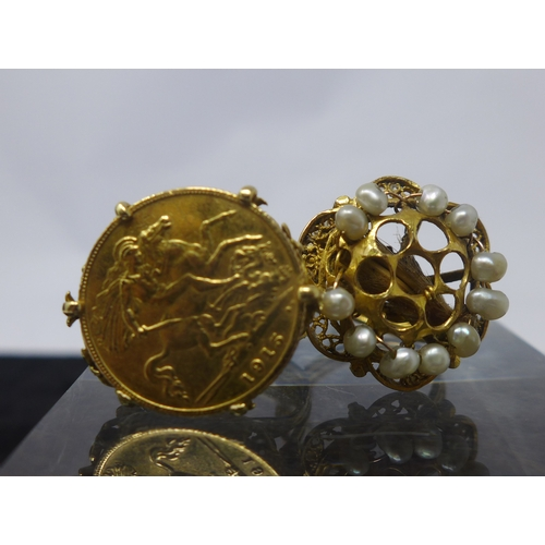 3 - Two large antique 18ct yellow gold rings, one set with a 22ct gold 1915 half sovereign and intricate...