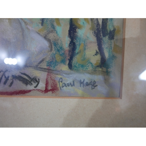 23 - 20th century school, A Nude Lady on her Bed, pastel study, signed 'Paul Mane'? lower right, 26 x 38c...