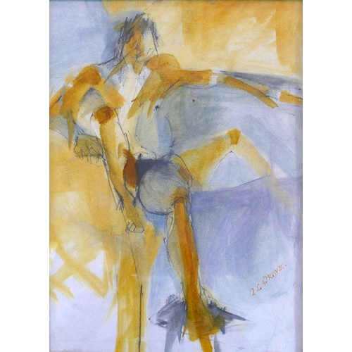 47 - After Ossip Zadkine a figural study of a nude man, watercolour and graphite, bears signature to lowe...