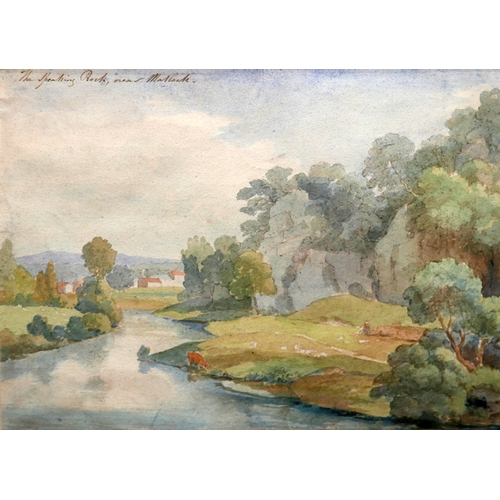 54 - Early 20th century British school, 'The Speaking Rock near Matlock', riverscape, watercolour, titled...