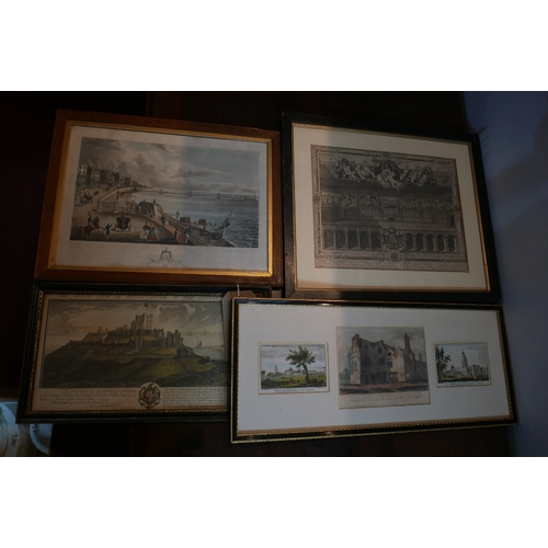 55 - A collection of 4 framed antique prints and engravings to include a view of Brighton Pier 1838, Newi...