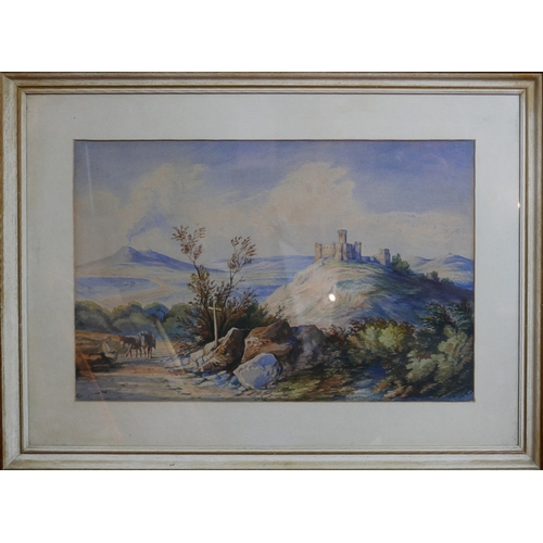 62 - Unsigned, A framed early 20th century watercolour on paper depicting a rocky landscape with castle o...