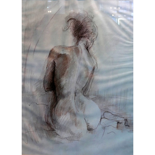 77 - Unsigned, A large framed and glazed, pastel and pencil study of a nude on paper, 77 x 57cm...
