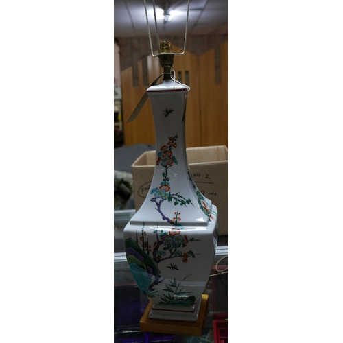 85 - A Chinese style table lamp with bird and flower decoration H.60cm...