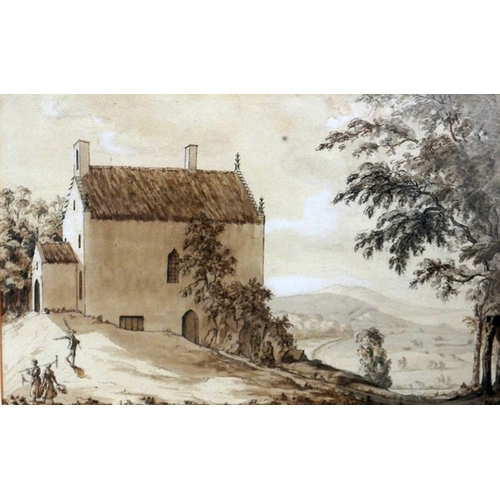 87 - Two gilt framed and glazed, 19th century pen and watercolour drawings one depicitng a couple under a...