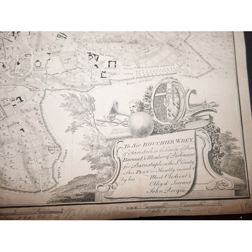 10 - A plan of Rome, engraving, 'To Sir Bouchier Wrey, inscribed by John Rocque, 46 x 53cm, and a late 17...