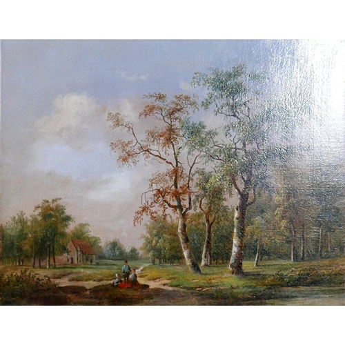 12 - A 19th century gilt framed oil on canvas of figures resting in a rural setting, attributed to Willem...