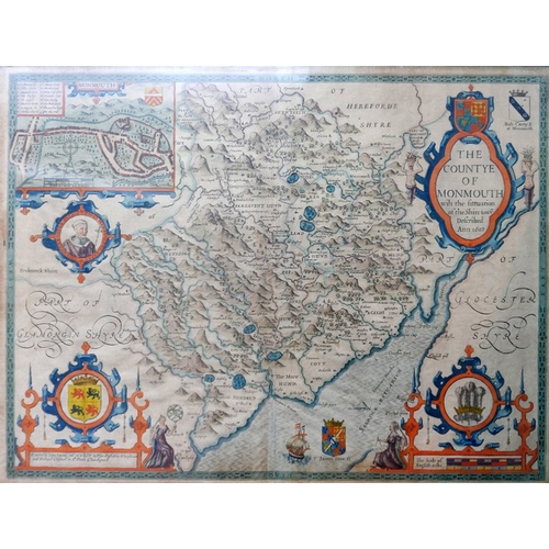 17 - John Speede (1551-1629), a hand-coloured map of the County of Monmouth, framed and glazed, 40 x 52cm...