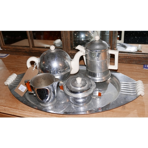 27 - An Art Deco chrome plated tea set and tray...
