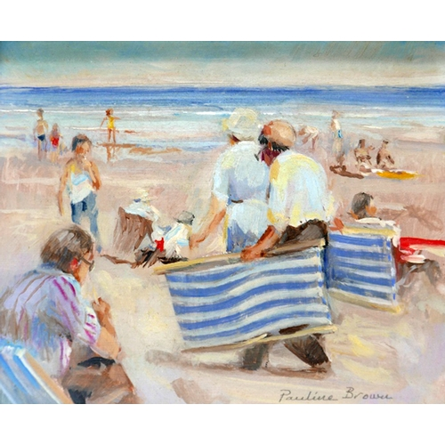 38 - Pauline Brown (b.1926), British seaside scene of bathers and deck chairs, oil on board, signed 12 x ...