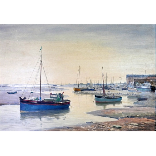 44 - Vavasour Hammond (1900-1985), 'Evening, Leigh-on-Sea', oil on board, 35 x 51cm...