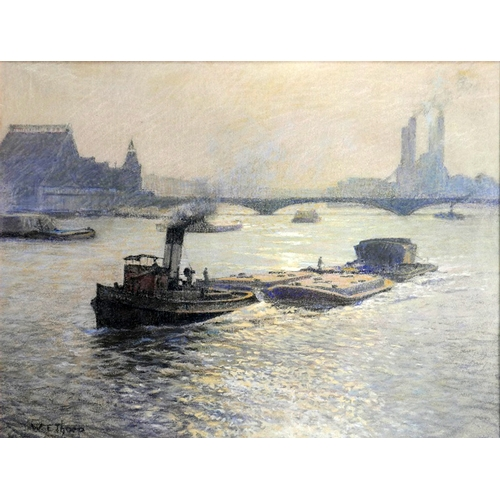 52 - William Eric Thorp (British, 1901-1993), 'Looking Towards Old Power Station, Battersea', pastel, fra...