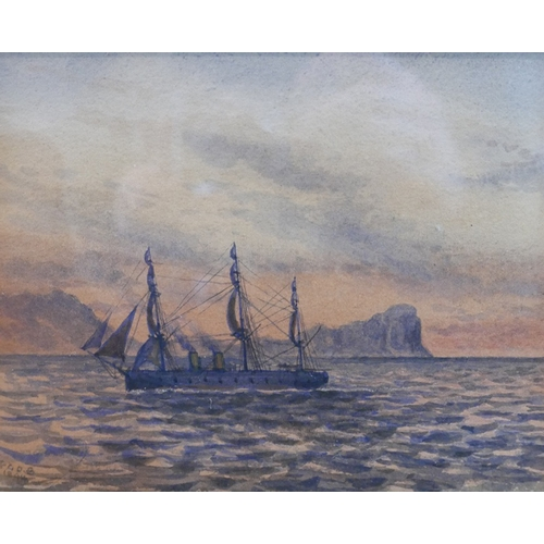 53 - Two late 19th century watercolours, 'H.M.S. Raleigh Passing Hang Klip Head', 14 x 17.5cm, and 'After...