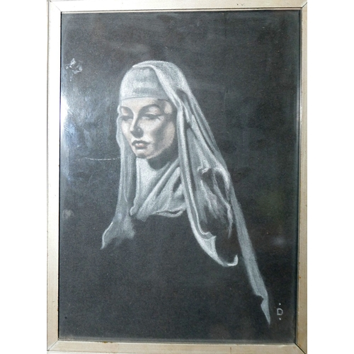 22 - Major John Dudley R.A., 'Beatitude', portrait of a nun, etching, framed and glazed, signed in pencil...