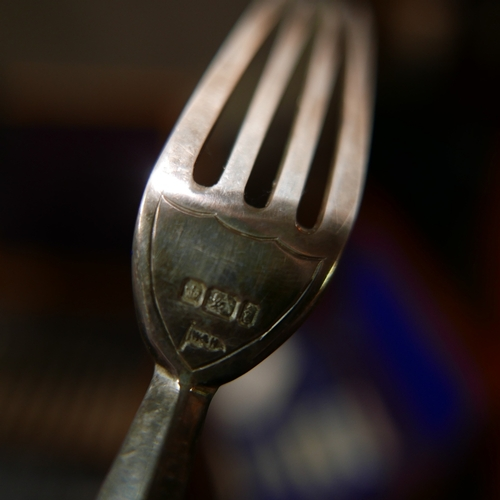 63 - A cased set of Walker & Hall silver forks, hallmarked Sheffield, together with two other cased sets ...