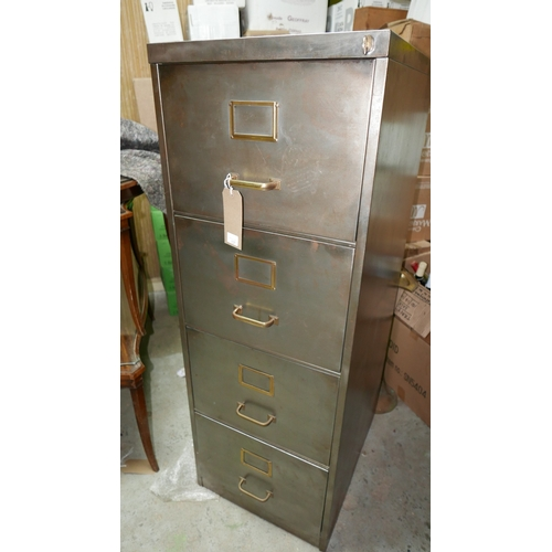 137 - A vintage four drawer metal filing cabinet with brass handles, H.134 W.37 D.62cm...