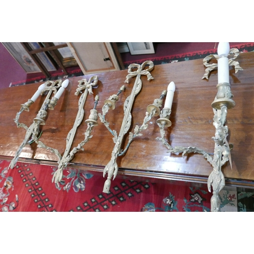 160 - Two pairs of early 20th century gilt wood wall sconces...