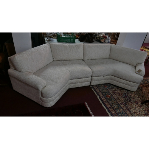 183 - A Weiman Company Sofa in two parts with cream damask upholstery...