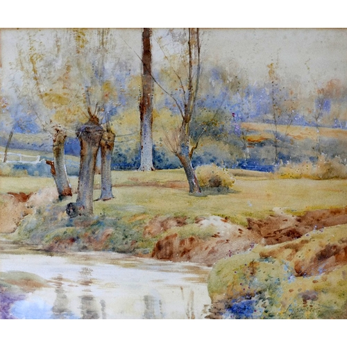 68 - Two framed and glazed watercolours, one depicting Surrey marshlands, 26 x 38cm the other indistinctl...