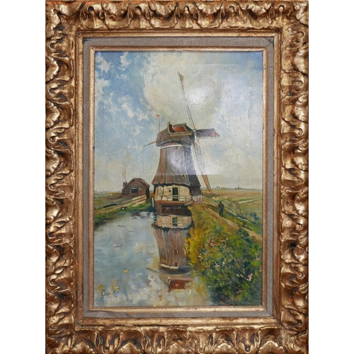 46 - 20th century Continental school, Study of a Windmill, oil on canvas, signed Gabriel to lower left, i...