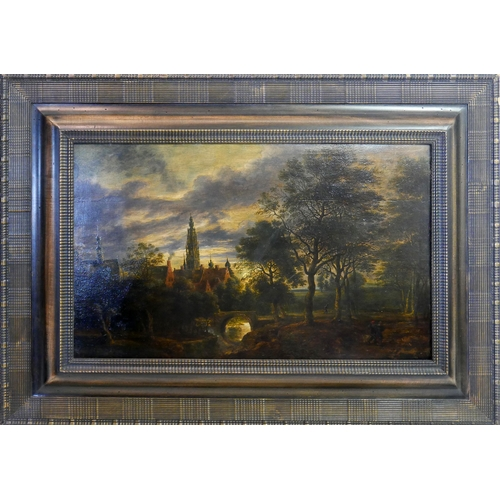 103 - School of Lucas van Uden, a landscape scene, oil on board, H.37cm W.59cm...