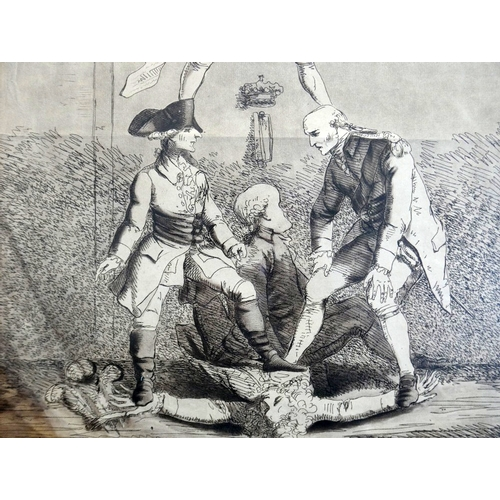 28 - An 18th century engraving titled 'King Pitt', M.Bradshaw, H.Humphrey, 1788, 43 x 30cm...