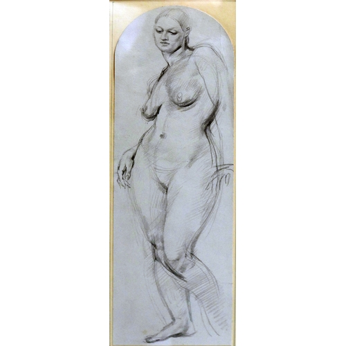 56 - 20th century school, full length portrait of a nude lady, pencil sketch, framed and glazed, 35 x 11c...