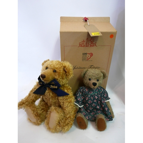 4 - A Steiff limited edition 1902-2002 Anniversary bear, having blonde mohair and growler, with box and ...