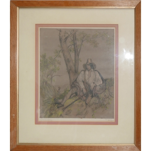 88 - Mary E. Gilmore (Mid to late 19th century British school), Young man sitting by a tree, watercolour,...