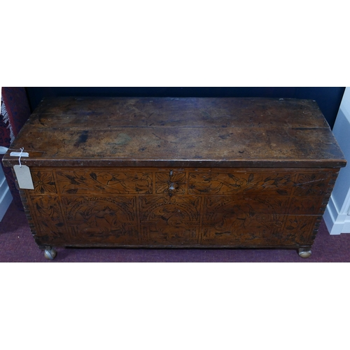 199 - A Victorian coffer with engraved front and fabric lined interior, with fitted candle box, H.64 W.136...