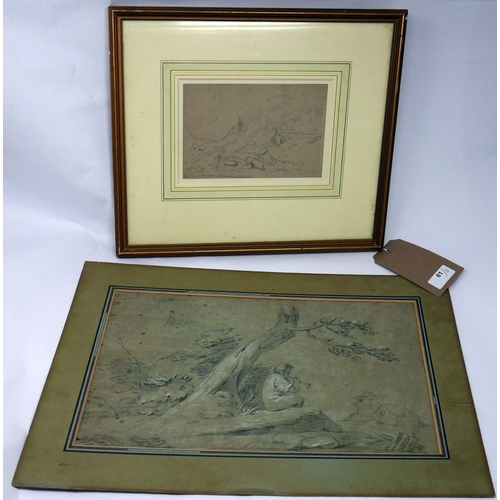 61 - A pencil sketch of a Mountainous landscape, inscribed, framed and glazed, 12 x 18cm, together with a...