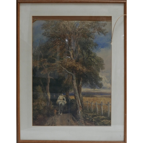 64 - Early 20th century school, A man on a horse riding down a tree lined road with his dog, watercolour,...