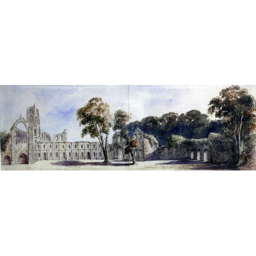 79 - 19th century British school, a ruined Abbey, possibly Fountain Abbey in North Yorkshire, diptych wat...