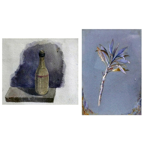98 - A watercolour depicting a still life of a wine bottle, framed and glazed, 15 x 18cm, together with a...