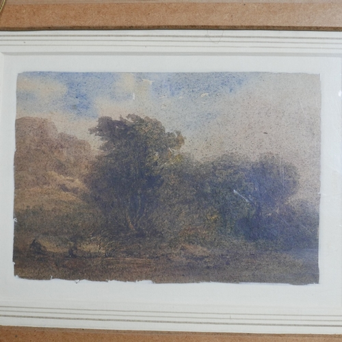 110 - An early 20th century watercolour of a seascape with mountains to background, 20 x 12.5cm, with a wa...